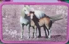 Tvöfalt pennaveski með ritföngum - hestar