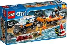 Lego City bíll með gúmmíbát